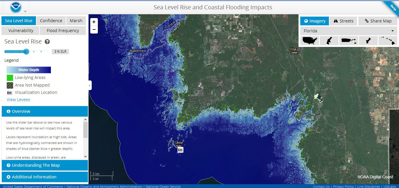 FAQs Planning For Coastal Change In Levy County - Florida map sea level rise