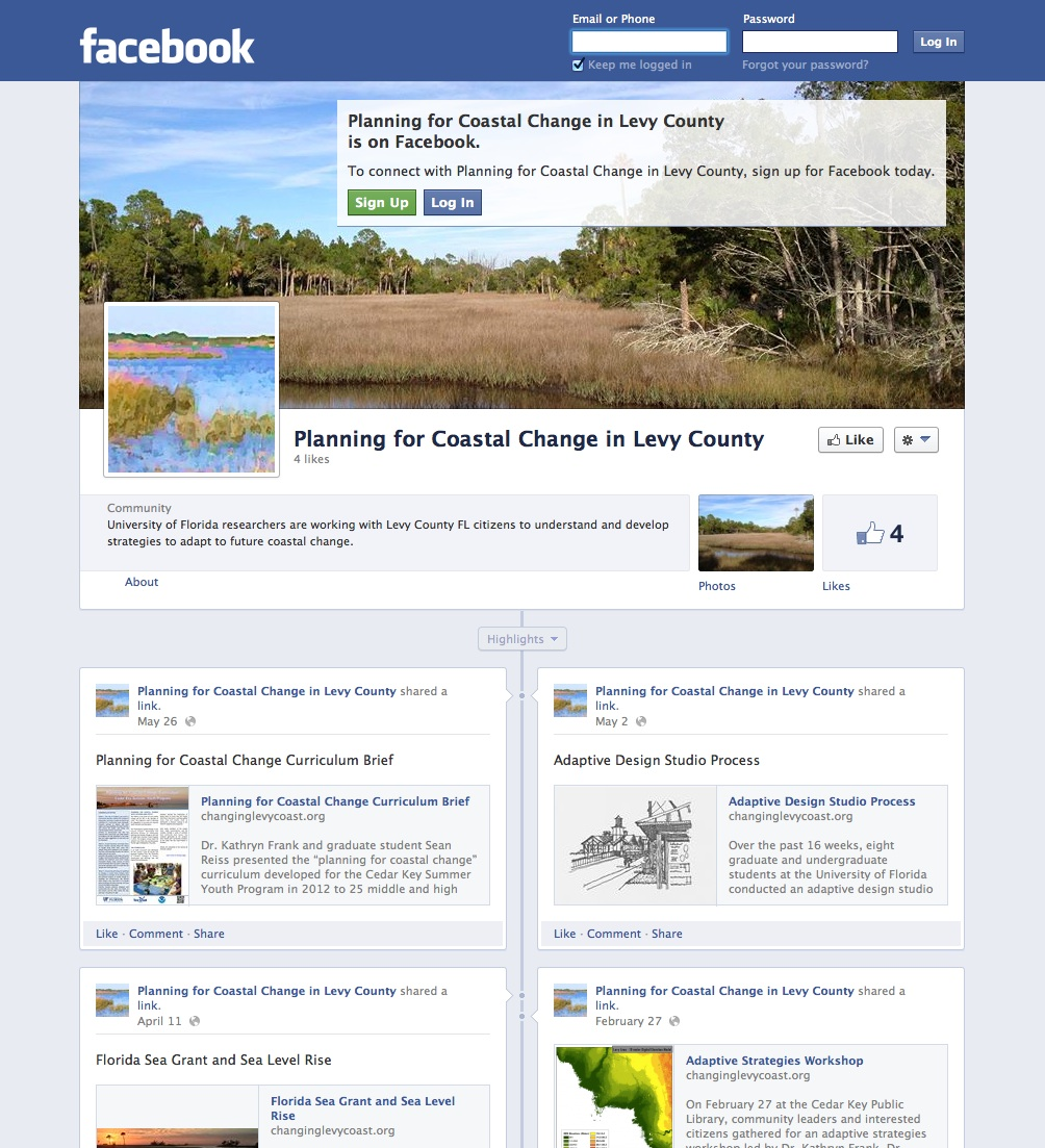 facebook templates for projects - project facebook page planning for coastal change in
